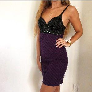Arden B Sequin Beaded Black Purple Mini Dress